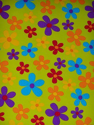 Fleurs fond vert